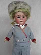 German bisque 36cm Cuno & Otto Dressel child. Blue glass sleep eyes, angled lashes, stroke brows, pi