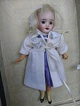 Cabinet 20cm bisque Bisque Recknagel 21 with mohair wig, fixed eyes. Straight leg composition body w