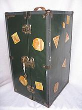 Tin 1920-30s R.H. Macy & Co Doll Trunk with key 45cm high x 26 wide x 27 deep. Travel stickers / Mac