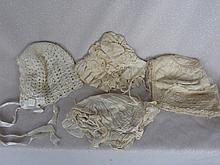 Four antique infant / baby / doll bonnets includes:- silk and crochet.