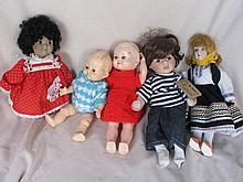 Mixed fifteen (15) dolls includes:- Pedigree HP, cloth, repro Googly, Artist, Topsy / Turvy, 1986 Ma