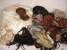 Mixed box of 25+ mostly vintage used doll wigs, includes mohair, synthetic, and heaps of white untre