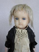 Turned shoulderhead 1870s German Wax Over Mourning Doll 44cm. Some wax lifting at back of head and o