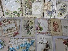 Fourteen antique Victorian diecut Christmas & New Year cards includes:- Raphael Tuck & Sons, mostly