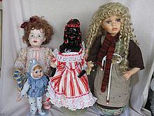 Seven mixed porcelain dolls includes:- Laurel & Hardy, C/Chaplin, 56cm Homeart, Black African child