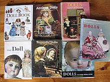 Seven Doll Reference Books inc:- Antique, Doll book/ Goodfellow, The Doll/Fox, Beautiful Dolls, Euro