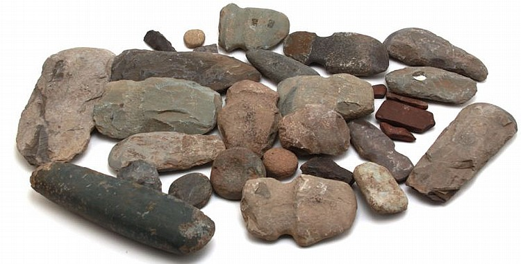 HIAWASSEE RIVER CELT GROOVED AXE HAMMER STONE LOT