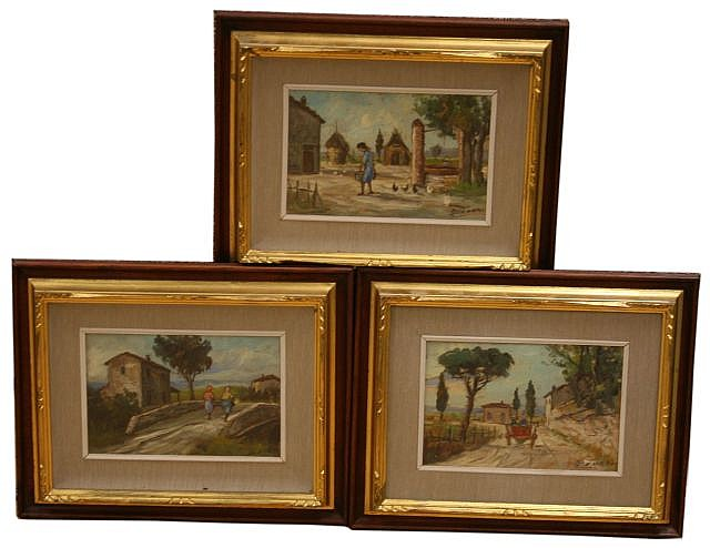 THREE OIL SKETCHES ON WOOD PANEL BY ASSUERO