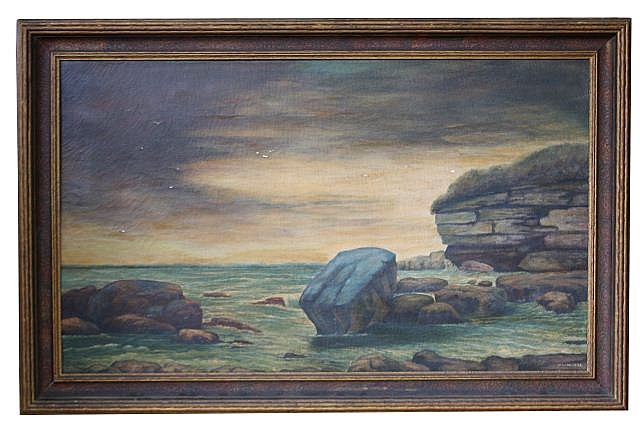 ORIGINAL VAN METER OCEANSCAPE OIL PAINTING C.1900