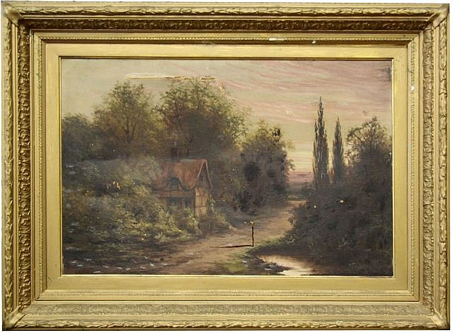 FRAMED OIL ON CANVAS LANDSCAPE SIGNED S COOK