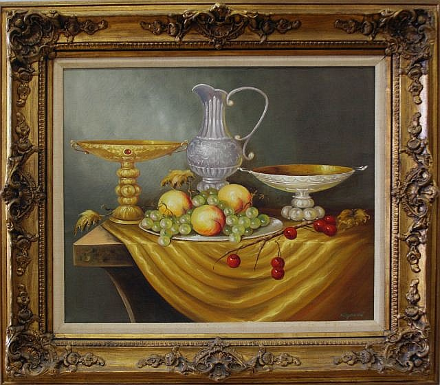 FRAMED AND SIGNED OIL ON CANVAS STILL LIFE