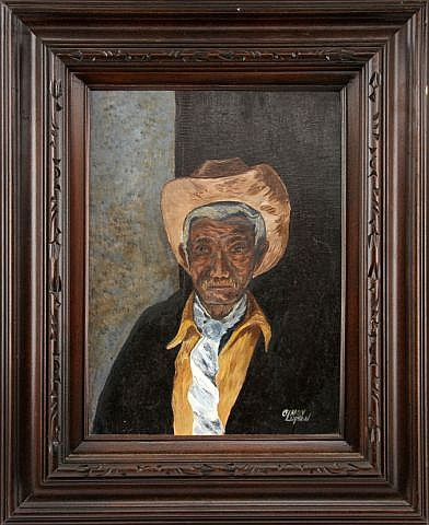 CINDY LUPTON FRAMED OIL PAINTING OF A COWBOY