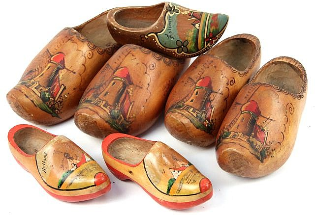 FOUR PAIRS OF DUTCH WOODEN CLOGS