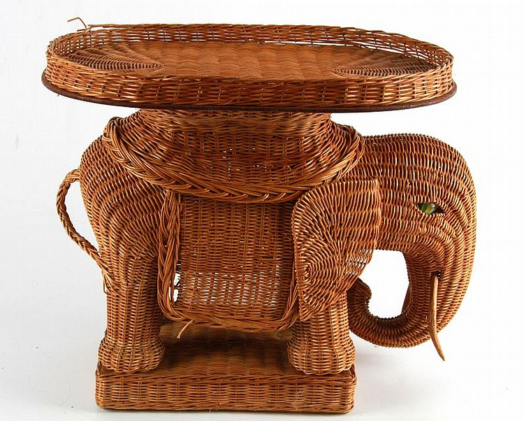 VIETNAM WAR THAI WICKER ELEPHANT END TABLE & TRAY