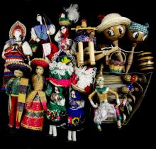 16 VINTAGE HANDCRAFTED DOLLS FROM AROUND THE WORLD