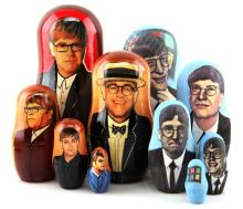 2 RUSSIAN NESTING DOLLS BILL GATES & ELTON JOHN