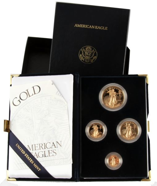 1998 PROOF GOLD AMERICAN EAGLE 4 COIN SET 1.85 OZT