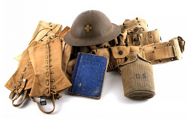 WWI WWII HELMET AMMO BELT CANTEEN LEGGINGS BOOK