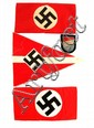 2 NSDAP ARMBANDS SMALL HJ PENNANT & NATIONAL PATCH