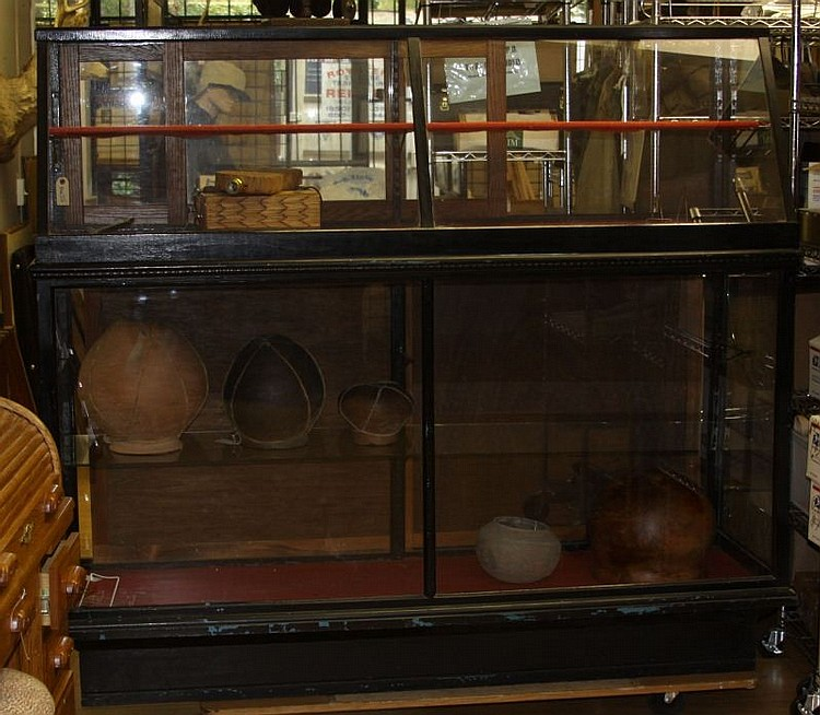 LARGE WOOD AND GLASS DISPLAY CASE