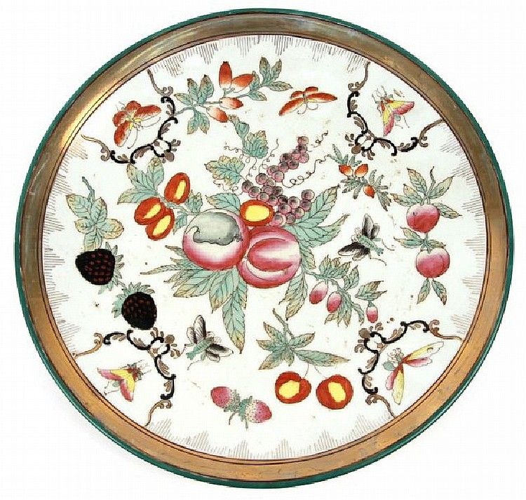 CHINESE 20TH CENTURY HAND PAINTED 12 INCH CHARGER