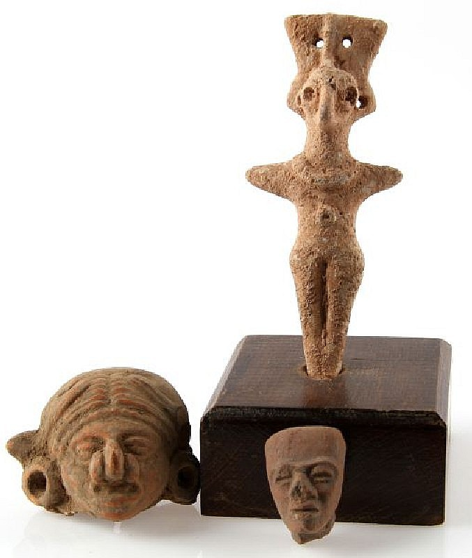 MAYAN BIRDMAN & DIETY DUG ARTIFACT LOT