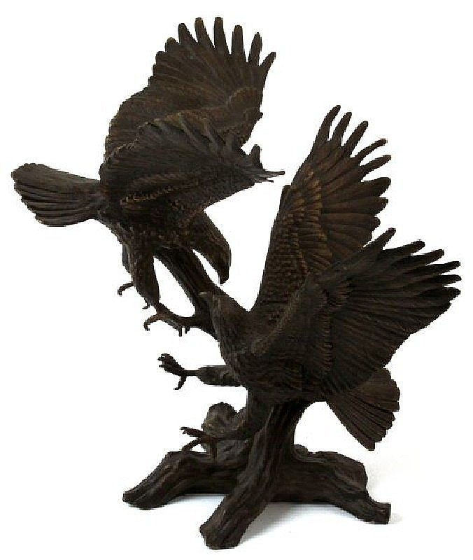 CAST BRONZE STATUE OF A PAIR OF EAGLES