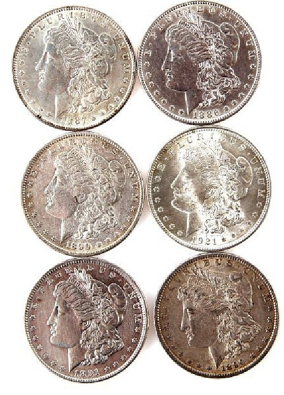 SIX SILVER MORGAN DOLLARS 1886-1921