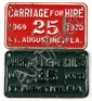 2 VINTAGE ST AUGUSTINE FL CARRIAGE LICENSE PLATES