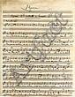 Hector BERLIOZ (1803-1869). Manuscrit musical autographe, Hymne pour la Consécration du Nouveau Tabernacle, 1859?; 1 page in-4 (qqs fentes et déchirures réparées, avec petit manque restauré) légèrement rognée au bas (sans perte de texte ni