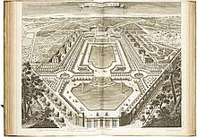 DEMORTAIN. Les plans, profils et élévations des ville et château de Versailles avec les bosquets et fontaines... Paris, Demortain, s. d. [ca 1716], in-folio, vélin blanc, plats ornés d'un décor à froid avec grand motif d'arabesque au centre, dos