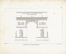 LAFITTE (L.). Description de l'arc de triomphe de l'Étoile, et des bas-reliefs dont ce monument est décoré. Paris, L'Auteur, 1810, in-8° oblong, maroquin vert à grains longs, filets dorés et à froid autour des plats, ex-dono en lettres dorées sur le