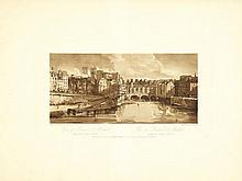 GIRTIN (Th.). A Selection of Twenty of the Most Picturesque Views in Paris and Its Environs, Drawn and Etched in the Year 1802 by Thomas Girtin and Aquatinted. London, Girtin, 1802, in-folio oblong, demi-maroquin havane à coins, au centre une pièce