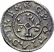 Denier de Laon, après 864. A/. (0h). +GRATIA D-I REX monogramme de Karolus. R/. +LVGDVNI CLAVATI croix. - Références: Gariel, n°125 - Prou, n°270 - MG, n°794 - Argent. 1,72g. (3h). Très Beau à Superbe.