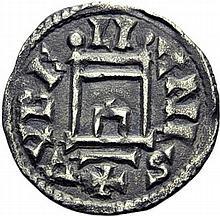 Denier d'Orléans à la porte, 840-864. A/. AVREL/LI/ANIS porte. R/. +CARLVS REX FR croix cantonnée de globules. - Références: Gariel, n°11 - Prou, n°511 - MG, n°944 - Argent. 1,47g. (8h).