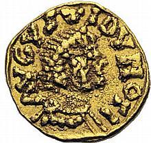 CITÉ D'AUTUN, Augustedunum (Saône-et-Loire). Tremissis au nom du monétaire Florus. A/. AVGVSTIDVNO FI deux bustes diadémés, accolés à droite. R/. MONII trait en forme de lettre M très allongée ... IIIIOORIIS MONII... dans un cercle de grènetis, croix
