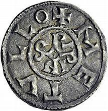 PEPIN II Roi d'Aquitaine (839-852). Denier de Melle. A/. +METVLLO monogramme de Pipinus. R/. +PIPINVS REX EQ croix. - Références: Gariel, n°2 - Prou, n°689 - MG, n°606 - Argent. 1,57g. (7h). Superbe.