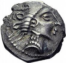 Drachme, imitation des monnaies de Marseille. Autre exemplaire. - Argent. 2,30 g. (10h). Superbe.