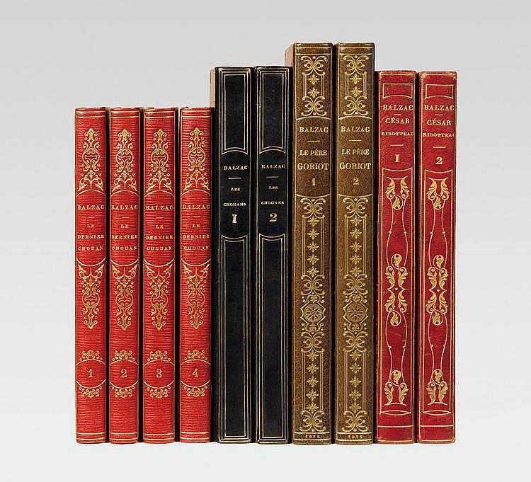 BALZAC (Honoré de). Le Dernier Chouan ou la Bretagne en 1800. Paris, Urbain Canel, 1829. 4 volumes in-12, demi maroquin à long grain rouge avec coins, dos lisse orné en long, non rogné (Devauchelle).