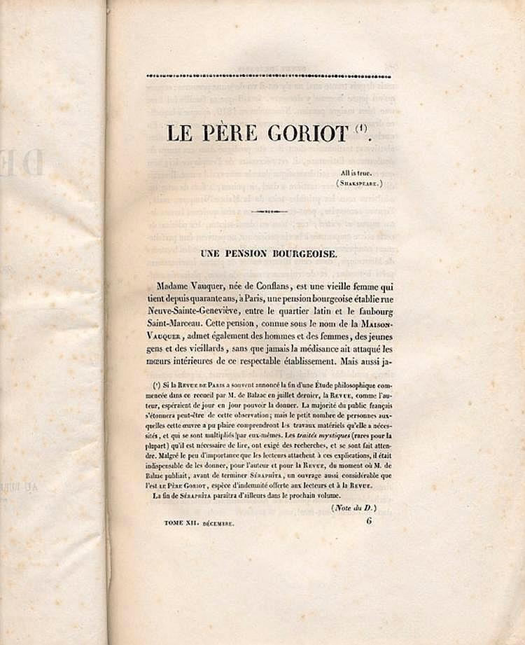 BALZAC (Honoré de). Le Père Goriot. Paris, Bureau de la Revue de Paris, 1834-1835. 4 fascicules en un volume in-8, demi-basane blonde, pièces de titre rouge, non rogné (Reliure moderne).