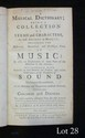 James GRASSINEAU (1715-1767). A Musical Dictionary ; being a Collection of Terms and Characters, as well Ancient as Modern ; including the Historical, Theoretical and Practical Parts of Music... (London, Wilcox, 1740); in-8, plein veau, XII et 347 pp