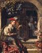 Ecole flamande dans le goût de Gérard DOUX.  Homme faisant des bulles.  Huile sur cuivre.  (Manques).  L.  27,5 cm - H.  35 cm.