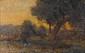 École française du XIXe siècle.  Canards à la mare.  Huile sur toile marouflée sur carton.  Porte une signature DAUBIGNY.  H.  24 cm - L.  38 cm
