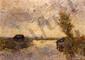 École française du XIXe siècle.  Paysage à la rivière.  Huile sur carton Porte une signature TROUILLEBERT.  H.  28 cm - L.  39 cm