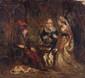 École anglaise du XIXe siècle.  Scène troubadour.  Huile sur panneau.  H.  18 cm - L.  19 cm