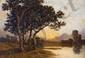 Léon RICHET (1847-1907).  Bord d'étang le soir avec pêcheurs.  Huile sur toile Signée en bas à droite.  H.  64 cm - L.  93 cm