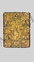 RELIURE D'UN ÉVANGÉLIAIRE Sur une face est représentée l'Anastasie (Résurrection ou Descente en Enfers), qui est entourée de saintes Fêtes liturgiques et de médaillons usés, ornés d'émaux cloisonnés de couleur varié. De gauche à droite on reconnaît