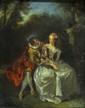 Ecole française dans le goût de Nicolas LANCRET.  Couple Galant.  Huile sur panneau.  L.  22 cm - H.  29 cm