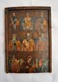 UNE ASSEMBLÉE DE SAINTS Avec la Vierge de Kazan à la dernière rangée.  Bulgarie début XIXe siècle Tempera sur bois, usures et restaurations, l'icône a été coupée dans le bas.  29,5 x 21 cm)