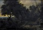 Jacques d'AUCHERS.  Paysage à l'étang.  Huile sur panneau.  Signée.  H.  26 cm - L.  35,5 cm